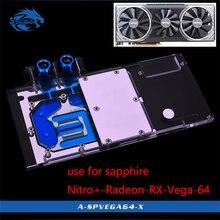Bykski użycie bloku wodnego do szafirowego Nitro + Radeon RX Vega 64 8GB HBM2 (11275-03-40G) pełna pokrywa GPU miedziany blok chłodnicy RGB