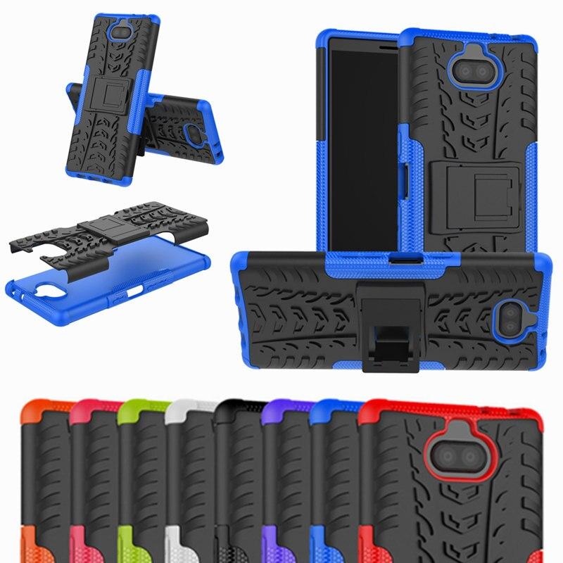 Für Sony Xperia 10/10 plus Luxus Stehen Rüstung Hybrid Robuste Abdeckung Für Xperia 1 XZ4 Kompakte XA2 XA1 XA3 Ultra XZ2 Premium Fall