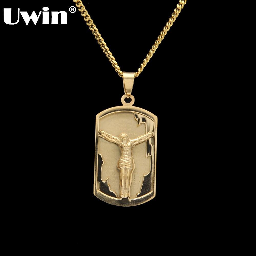 Uwin, colgante de Jesús de gran calidad, con colgante de Jesús, oración de los señores de la Biblia cristiana, collar con colgante de hip hop para hombres y mujeres, joyería
