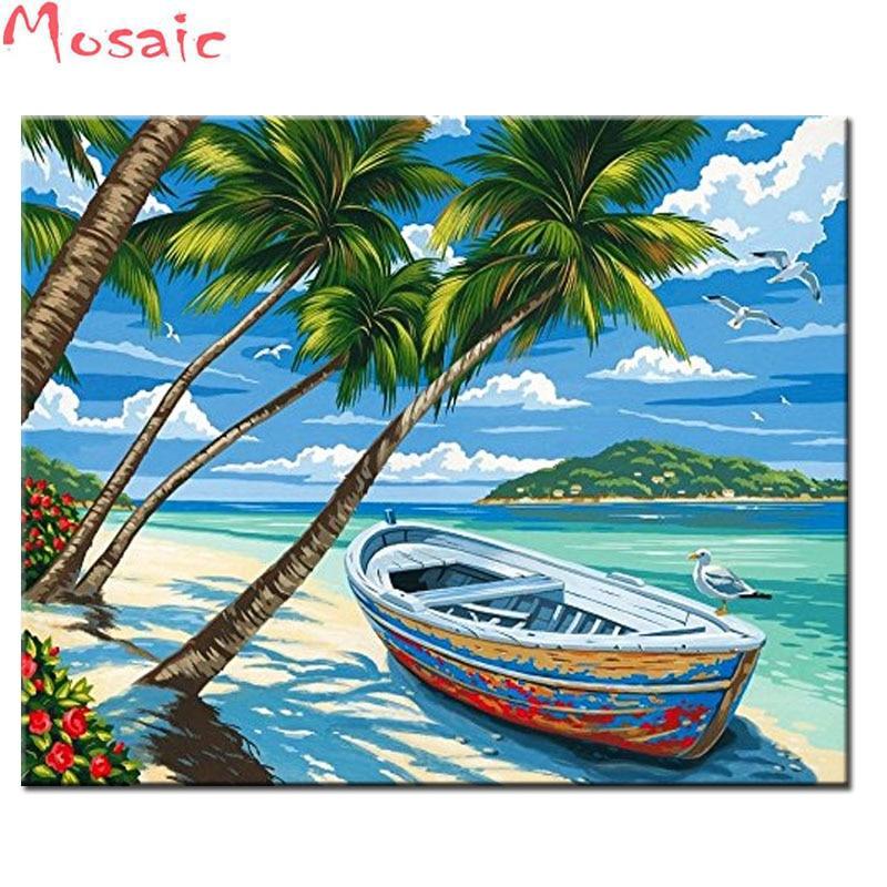 Diy 5d pintura de diamantes Tropical playa completa cuadrada diamante redondo bordado punto de cruz mosaico de diamantes de paisaje Rhinestones