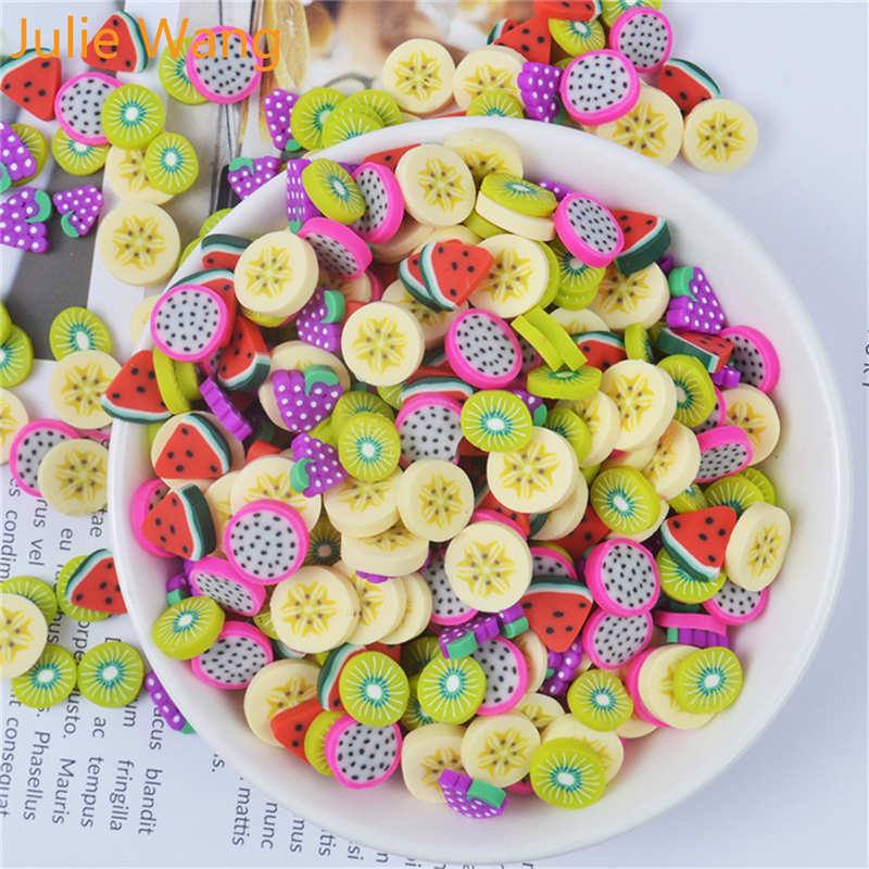 Julie Wang 40 Uds resina Artificial fruta rebanada encantos lodo arcilla Fimo Banana uvas naranja joyería accesorio accesorios para mesa