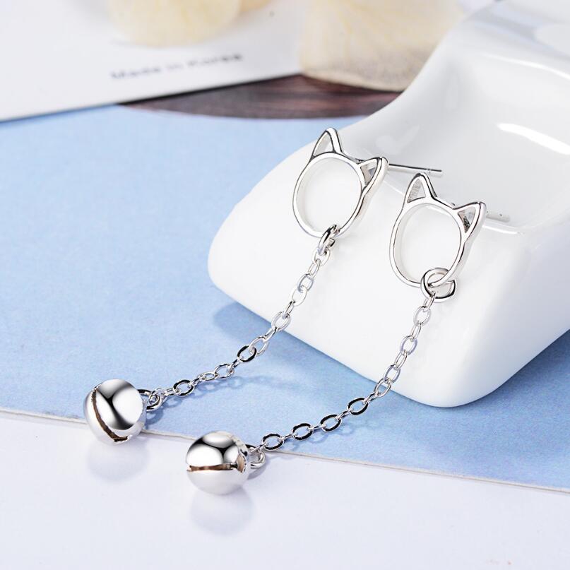 New Cute Cat Tassel Bell Stud Earrings For Women 925 Sterling Silver Pendientes Jewelry Accessories Simple Girl's Earrings SAE28