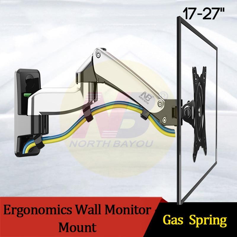 """Nb f150 17 """"-27"""" montagem na parede do monitor do movimento completo liga de alumínio 360 graus suporte do monitor da mola de gás braço tv suporte de parede"""