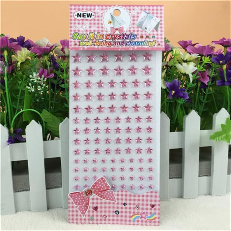 Crianças brinquedo adesivo de cristal acrílico rosa cinco pontas estrela adesivos crianças brinquedos auto adesivo 3d jardim de infância prêmio adesivos