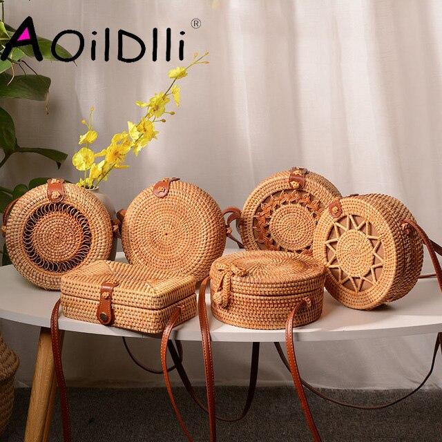 18x8cm Round Beach Bags Women Travel Rattan Bag Handmade Woven Straw CrossBody Bag Circle Bohemia Handbag Bali