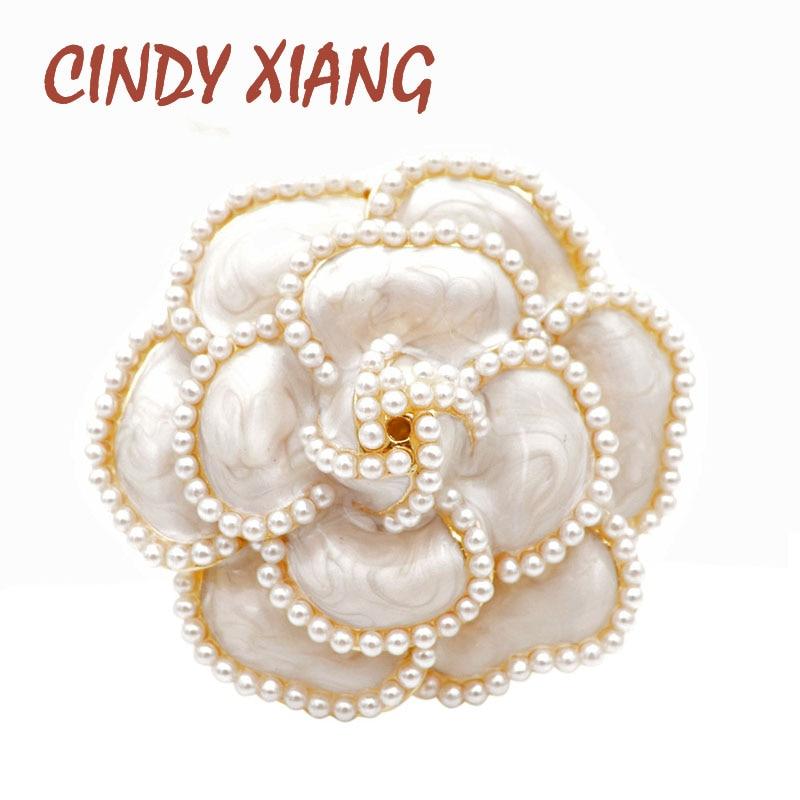 Женская эмалированная брошка CINDY XIANG, элегантные брошки в виде цветов с жемчугом