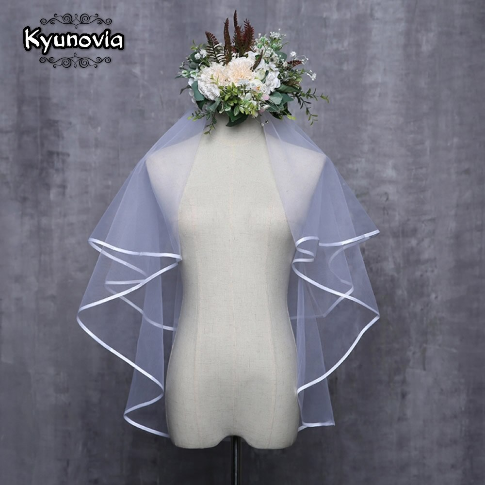 Kyunovia blanco marfil accesorios de boda Simple velo de novia corto dos capas borde de la cinta velo de novia velos de boda D19