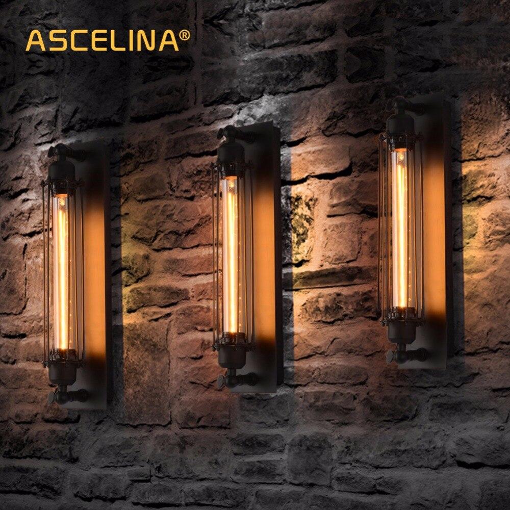 Lámpara de pared Industrial de pared Vintage luz E27 dormitorio pasillo bar...