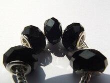 5 pièces 14*8mm couleur noire européenne grand trou rond en vrac verre cristal perle charmes pour Pandora bijoux à bricoler soi-même fabrication Bracelet Bracelet