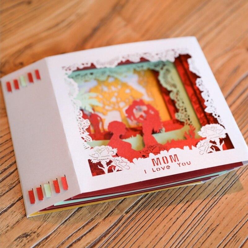 Tarjetas de Felicitación 3D Pop Up I Love Mom cumpleaños navidad regalo del Día de la madre #20/16L