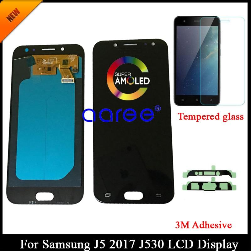 AMOLED probado para Samsung J5 Pro 2017 J530 pantalla LCD para Samsung J5 2017 J530 Montaje del digitalizador táctil de la pantalla LCD + adhesivo