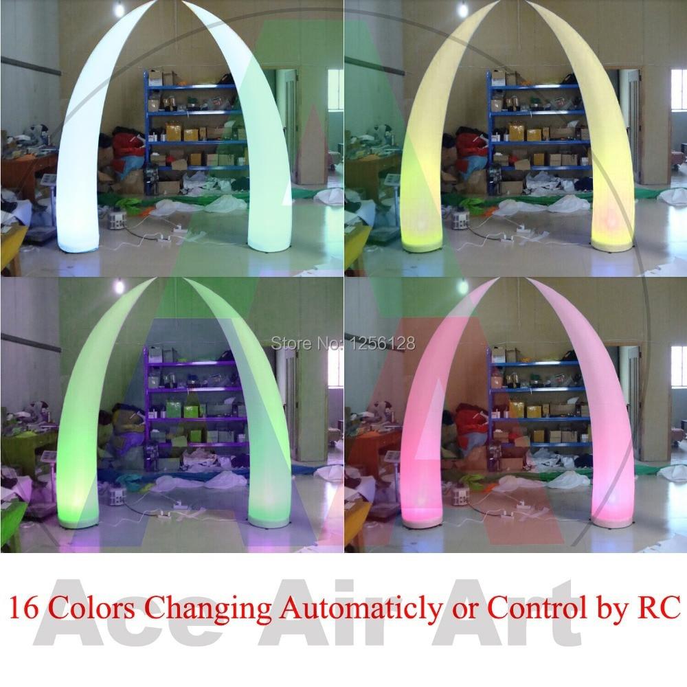 El más barato maravilloso 16 colores que cambian la luz LED portátil decoración inflable de la boda Tusk inflable con Control remoto