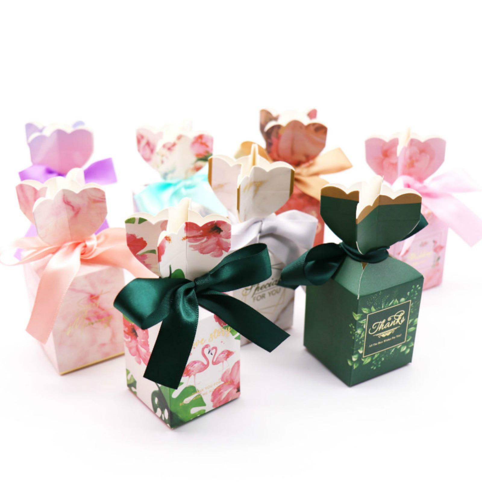 10 pçs decoração de casamento romântico caixa de doces de papel de flor decoração de festa de aniversário mármore rosa, folha verde, flamingo caixas de doces