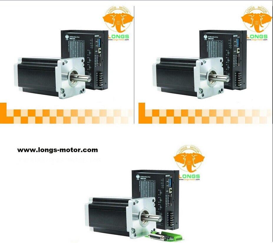 Stepper Motor CNC 3Axis Nema42  42HS0460 1700oz-in Drivers DM2722A 220V 7.0A 300Micro Grind Foam Mill Cut LONGS MOTOR