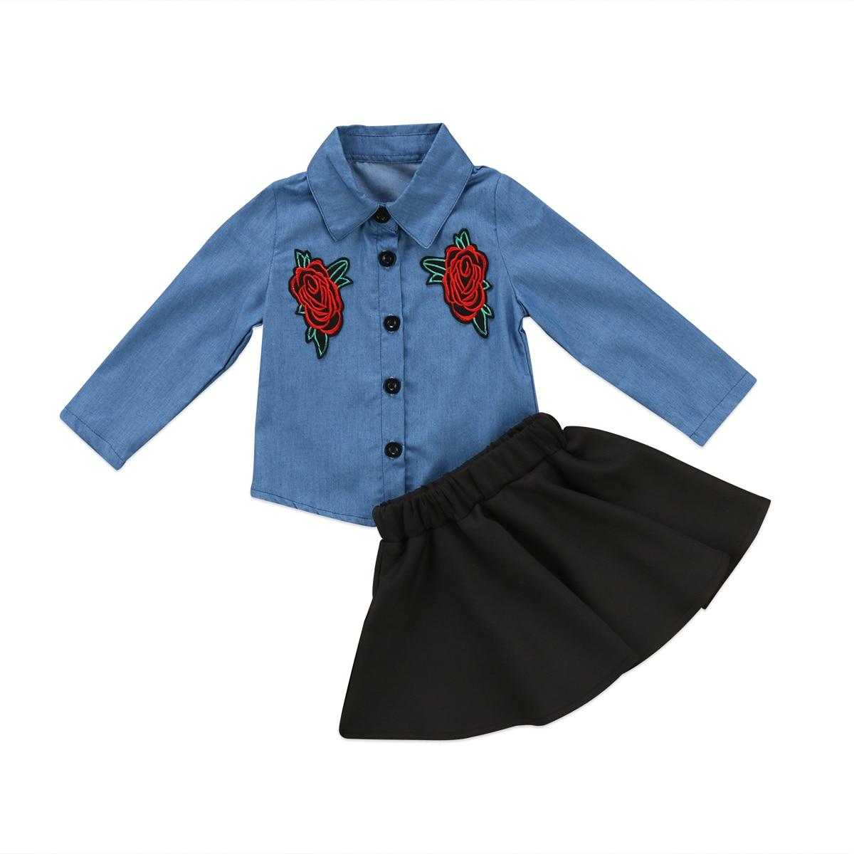 Los niños de las muchachas del bebé bordado negro Tutu faldas trajes de ropa de verano de manga larga conjuntos de ropa para niños