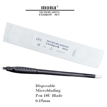 18U 0.15mm Disposable Microblading tools Manual Tattoo Eyebrow Pen With 18U Blade Permanent Makeup Tattoo Pen 10pcs