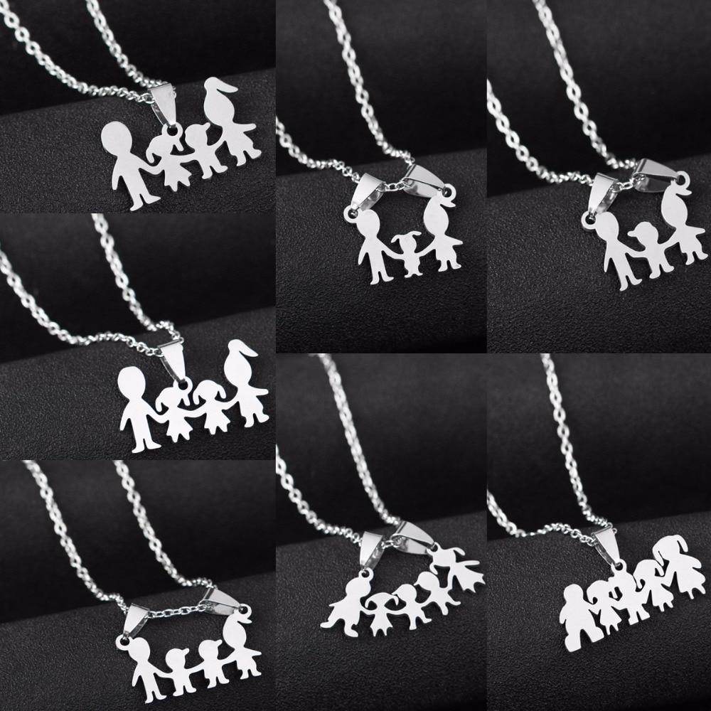Família amor mãe pai filho filha colares presentes pingentes de aço inoxidável meninos meninas mães pais colar para crianças