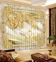 Rideaux occultants 3D a fleurs et bijoux  style europeen  pour salon  cuisine  chambre a coucher  cinema