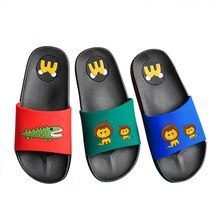 kids slippers summer boys girls flip flops shoes flat heel animal lion crocodile spiderman waterproof children shoes