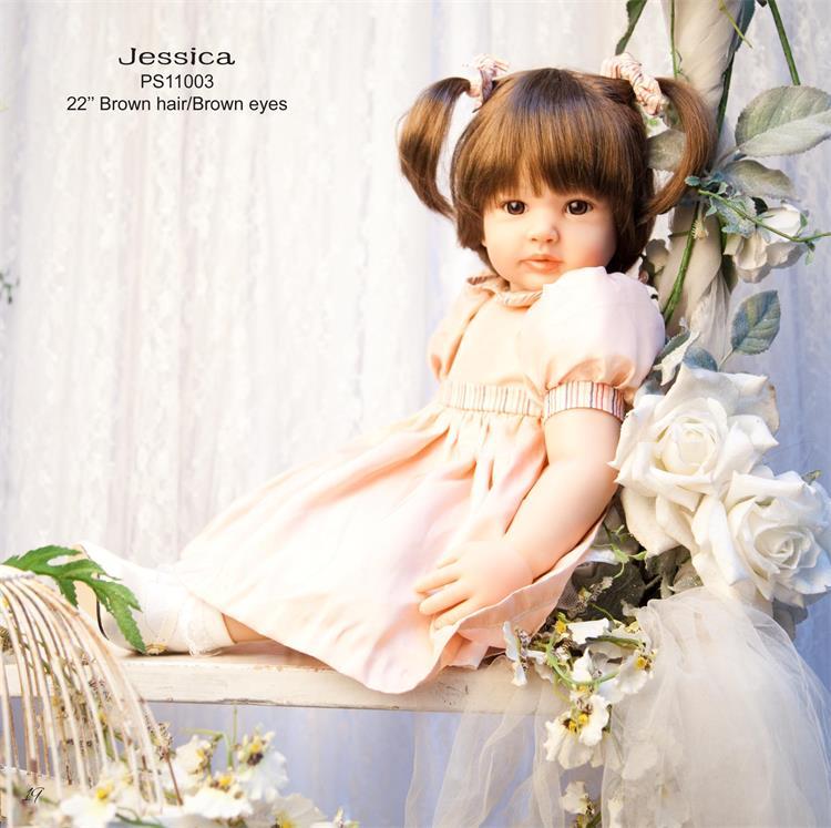 "22""56cm  smooth hair princess doll Reborn Babies Silicone Dolls l.o.l toys bebe ailve Toddler kids Xmas birthday brinquedos"