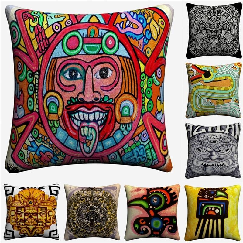 Funda de cojín de lino decorativo con tatuaje indígena nativo de México para sofá silla 45x45cm funda de almohada para decoración de hogar