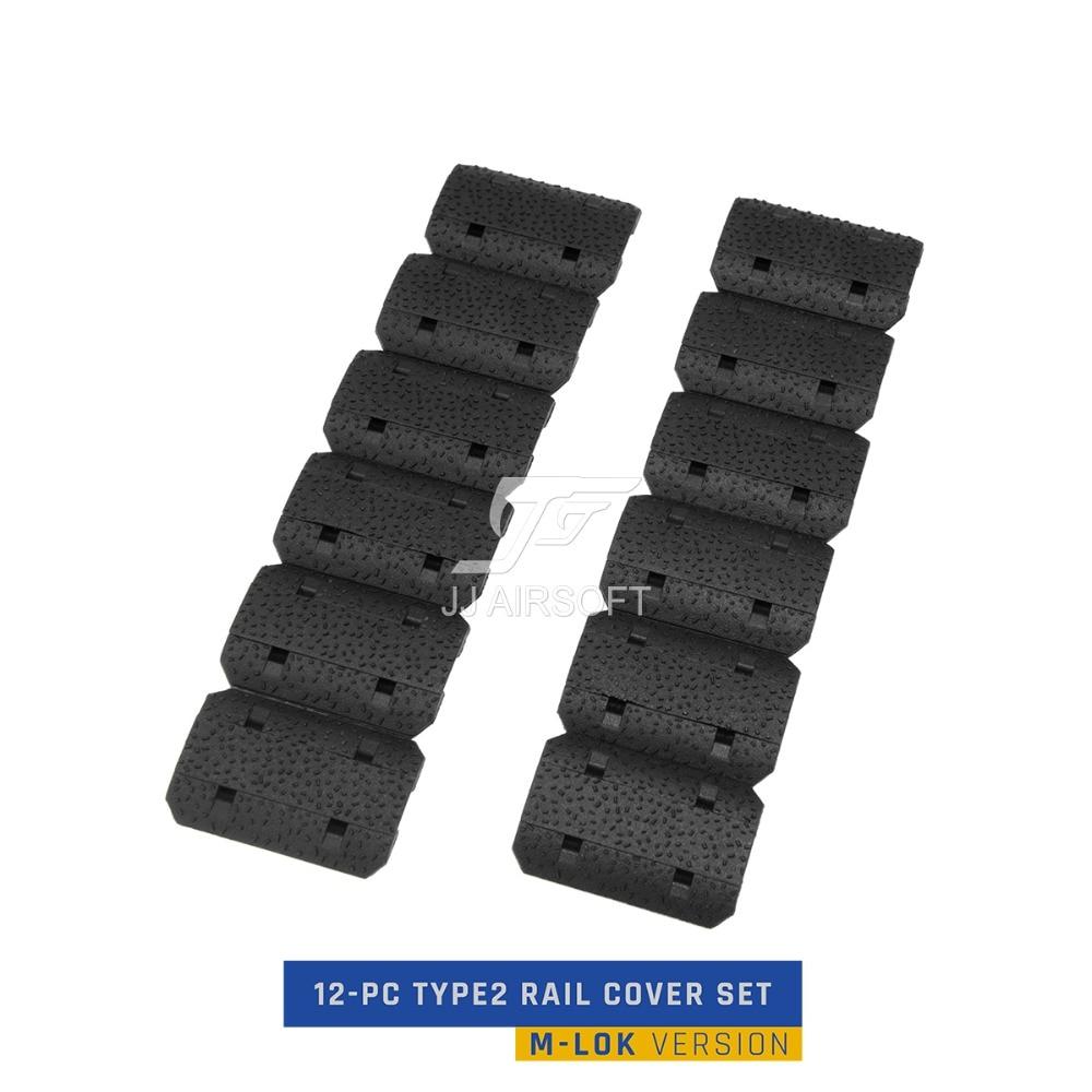 Airsoft Tactical 12-PC 12pcs Type2 MLOK M-LOK Rail Cover Set handstop hand stop protector  (Black/Tan/Delux)