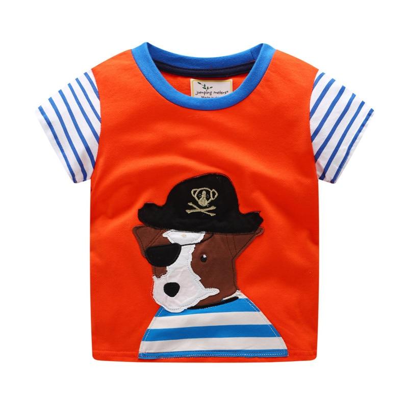 ¡Nuevo estilo! Camiseta de verano para niños pequeños, camiseta de manga corta a rayas con dibujos animados y apliques de un perro pirata que salta metros