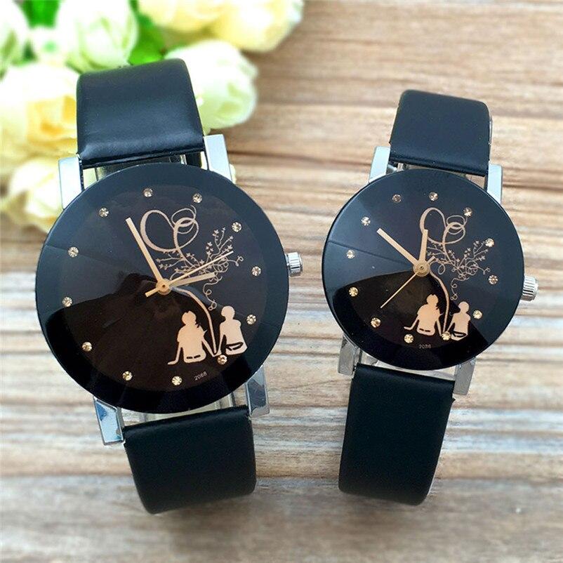 Student Couple Stylish Spire Glass Belt Quartz Watch Women Men Girl Boy Heart Flower Vintage relojes para mujer Gift Clock P50