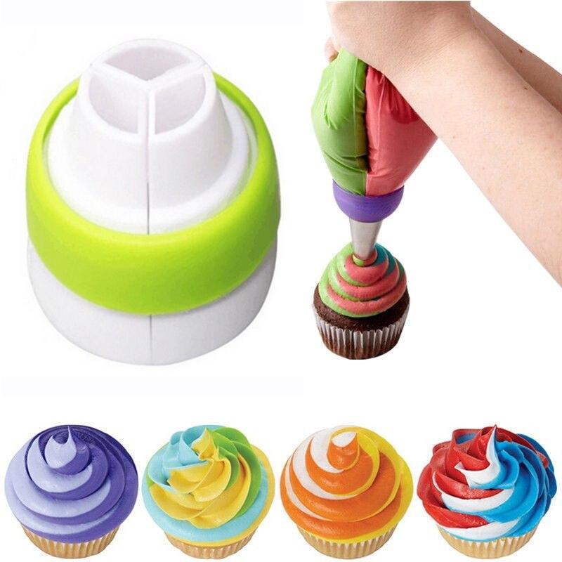 Boquillas para manga pastelera rusa, bolsa de crema pastelera, convertidor Tricolor, juego de herramientas de decoración de pasteles, herramientas de pastelería, accesorios para hornear