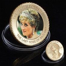 WR la Rose de langleterre en or 24k   Pièces de monnaie à collectionner la princesse Diana, pièces métalliques, ornement artistique à collectionner