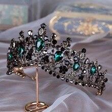 Baroque Bronze noir vert cristal diadèmes de mariée couronne Vintage strass diadème pour mariées bandeaux accessoires de cheveux de mariage
