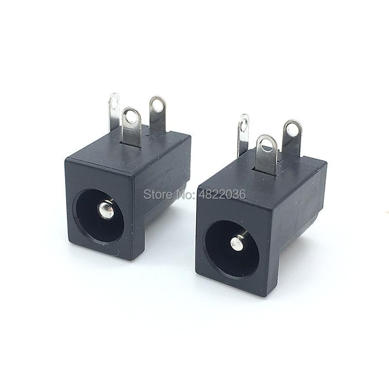 10pcs/lot DC-005 PCB Mount 5.5 x 2.1/2.5 mm Female DC Power Jack Plug Socket Connector DC005 Black 5.5*2.1/2.5MM