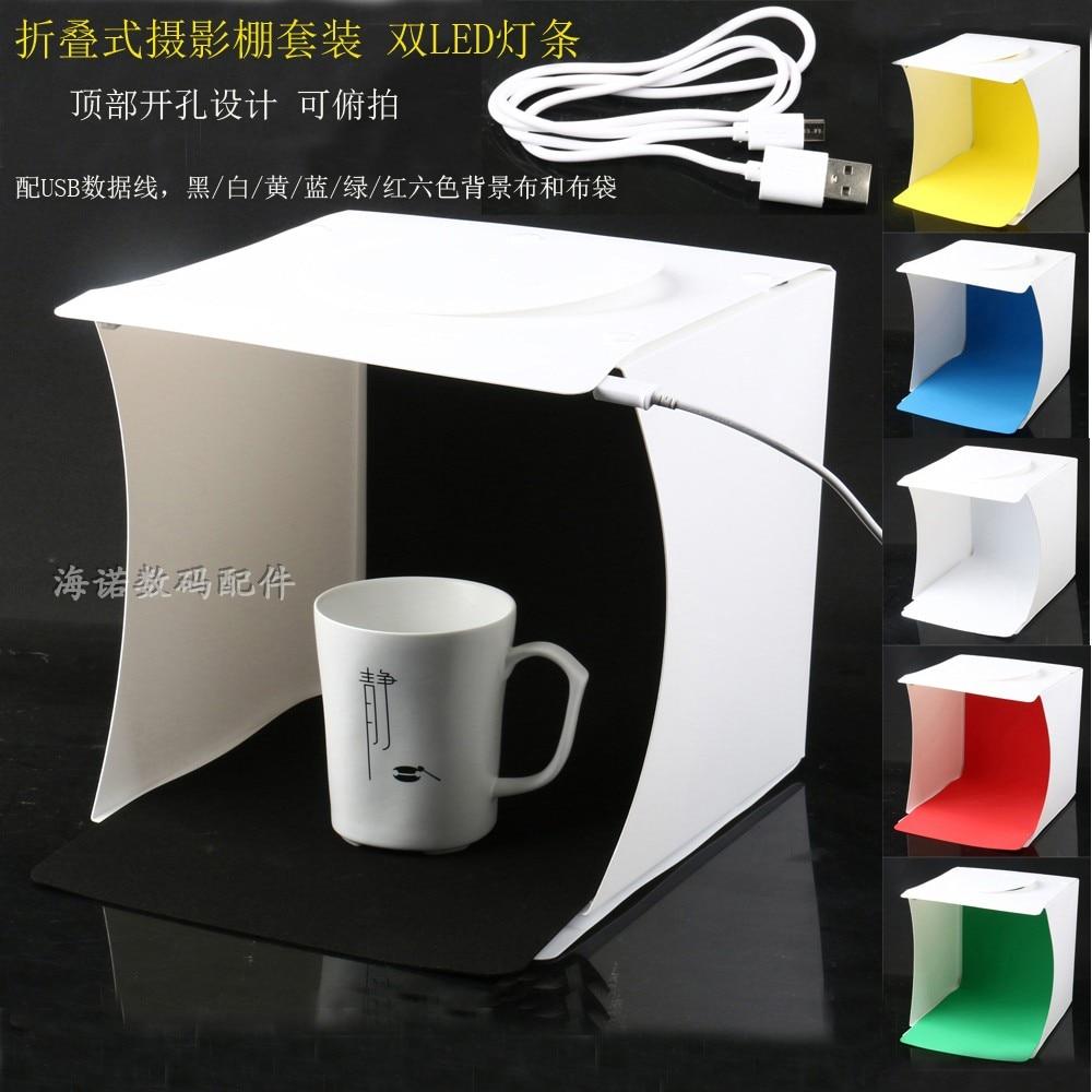 Mini 8 portátil plegable USB LED fotografía estudio Softbox caja de luz con fondos para Smartphone cámara DSLR foto