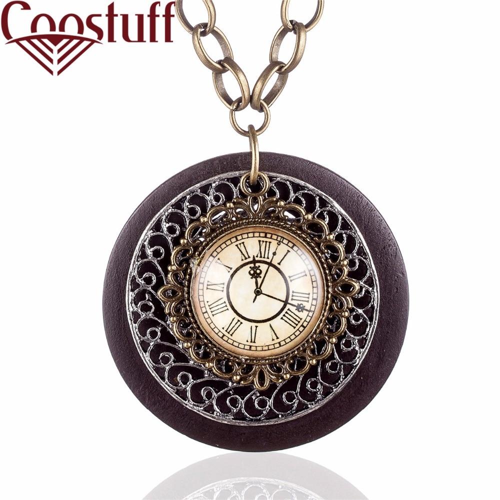 Wood Jewelry Rome Clock Pendant on the Neck Decoration for Women Accessories Bijouterie Chain Choker Female Pendants For friend