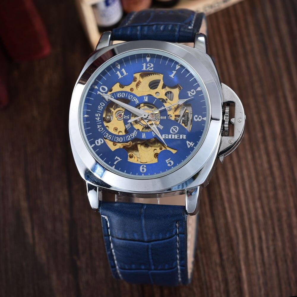 Blue Mechanical Skeleton Watch Leather Strap Automatic Self-wind Wrist Watches Men Wristwatch Relogio Masculino GOER