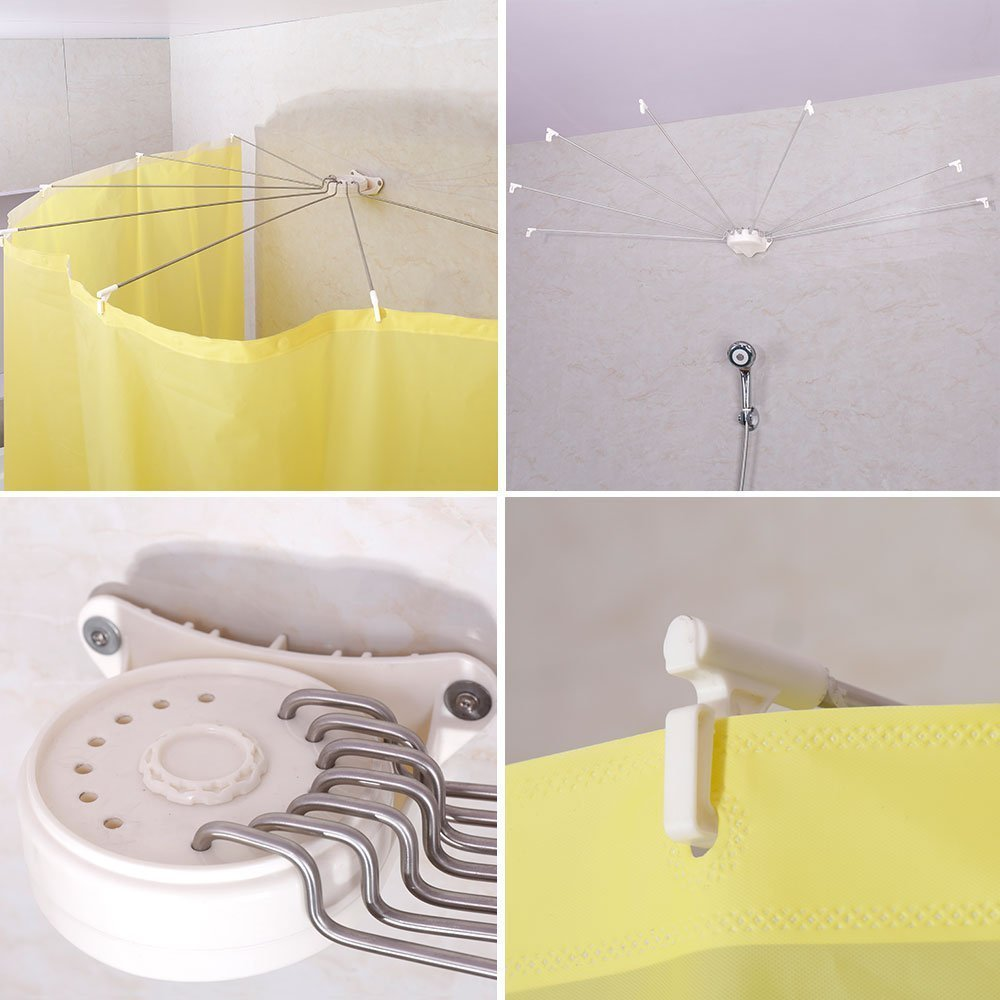 BAOYOUNI Foldable Wall Mounted Shower Curtain Rod Metal Space Saver Fan-shaped Bathroom Curtain Holder Rail with Hooks DQ1609 enlarge