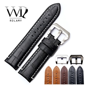 Rolamy 22 24mm Watch Band Strap For Panerai Real Leather Handmade Thick Replacement Wrist Watchband Strap Belt With Screw Buckle