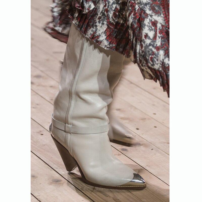 أحذية راكب الدراجة النارية الغربية من الجلد الطبيعي للنساء ، أحذية رعاة البقر فوق الركبة ، دراجة نارية ، كعب عالي ، 2019