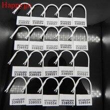 20 peças de bloqueio de plástico descartável dos pces cartões bloqueio para o fechamento masculino do pênis da gaiola do galo da castidade, 5 números diferentes keyholder