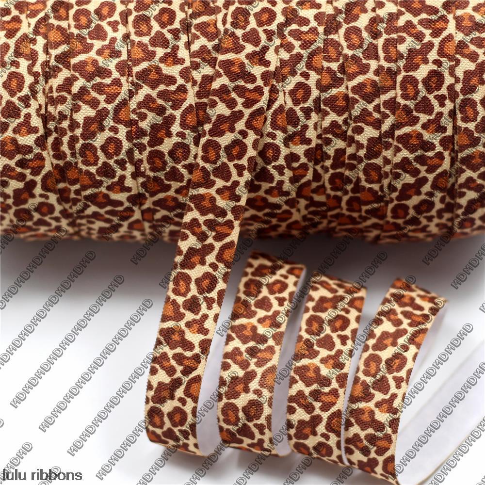 "50 Yards 5/8"" 15mm leopard printed Elastic FOE ribbon hair accessories HT01-PG022-01114"