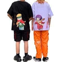 Harajuku japonés Camiseta para hombre con dibujos animados de Anime NARUTO Hinata Uzumaki, camisetas holgadas de manga corta para parejas