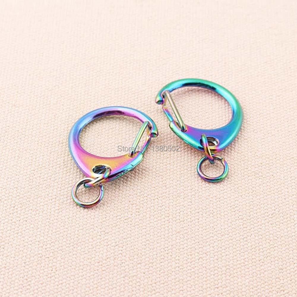 6 unids/lote nuevo diseño de moda brillante resorte de metal Arco Iris forma D gancho con anillo hermoso accesorios de decoración