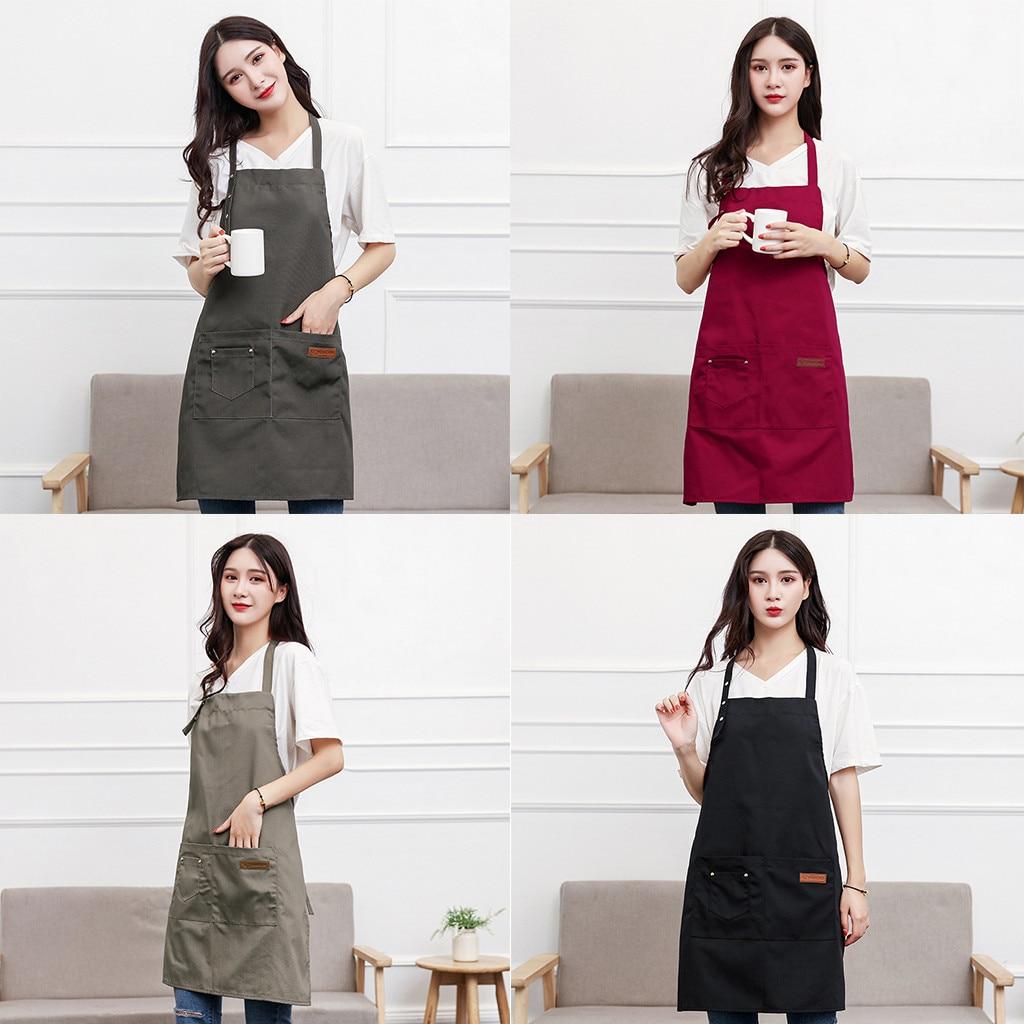 Novedad 2019 delantal General de alta calidad + delantal americano para hornear con bolsillo 8 colores para Chef carnicero cocina proceso de cocina