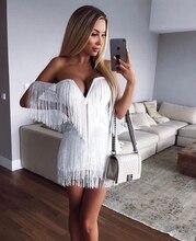 4 Kleur Hoge Kwaliteit Uit De Schouder Tassel Mini Rayon Bandage Dress Avond Party Dress