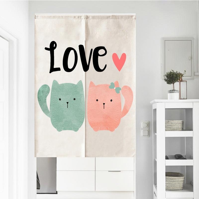 Amor gato hojas conejo Ineapple media cortina ventana personalizar partición hogar Baño restaurante cocina puerta cortinas