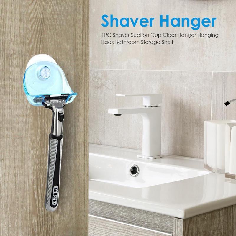 1PC Toothbrush Holder Shaver Washroom Wall Sucker Suction Cup Clear Hanger Hanging Rack Bathroom Storage Shelf
