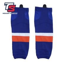 Cool hockey envío gratis 100% poliéster transpirable isleers calcetines deportivos de Hockey sobre hielo espinilleras baratas W023 para fans