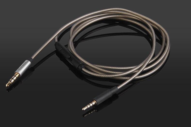 Prata chapeado cabo de áudio com microfone para klipsch status/modo m40/imagem um (ii) referência on/over-ear fones de ouvido