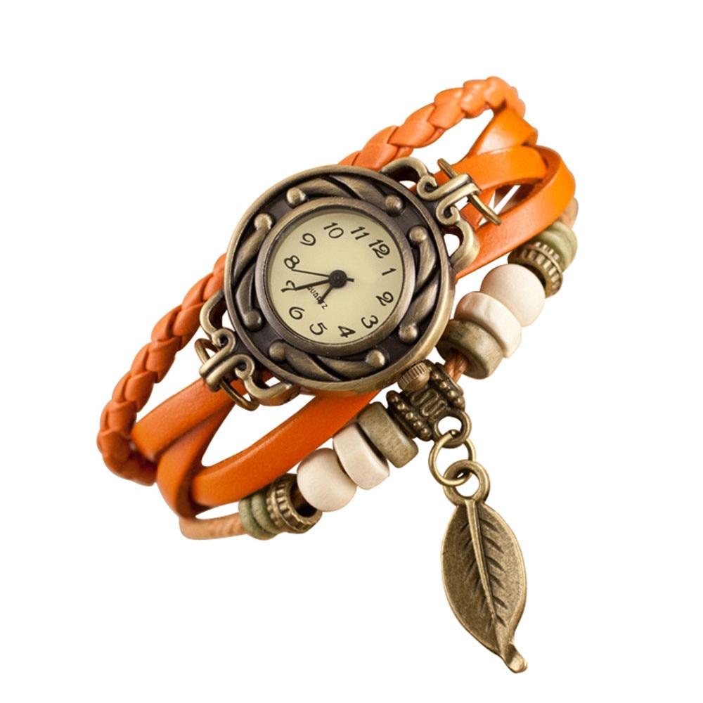 2019 relojes ultrafinos para hombre marrón Retro tejido envolver para mujer perla hoja colgante pulsera brazalete de cuarzo reloj de pulsera reloj femenino