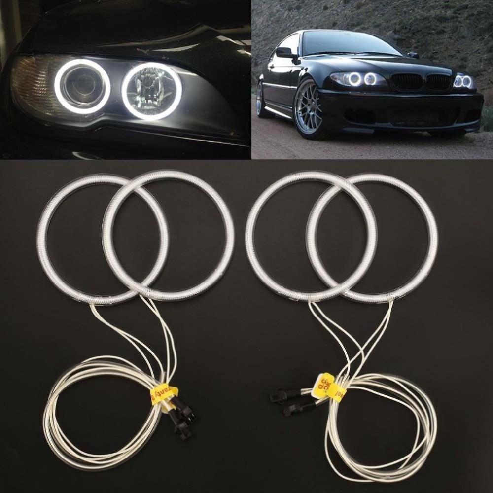 4 Uds. E46 coupé Facelift 5500K Kit de faros delanteros de tubo de luces tipo Ojos de Ángel CCFL 4 anillos blanco sin errores para BMW Kit de Ojos de Ángel